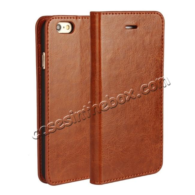 wholesale Luxury Genuine Crazy Horse Leather Wallet Case Cover For iPhone 6S 4.7 Inch - Brown