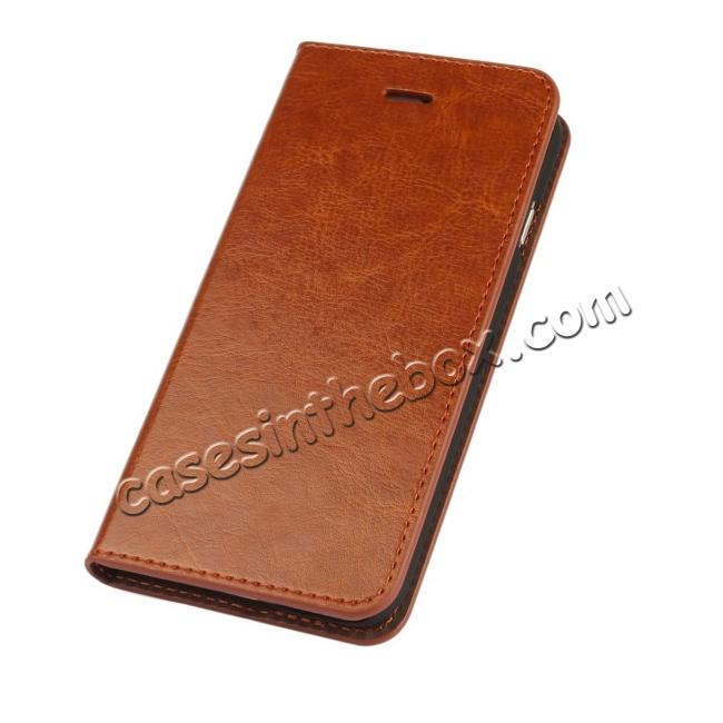 discount Luxury Genuine Crazy Horse Leather Wallet Case Cover For iPhone 6S 4.7 Inch - Brown