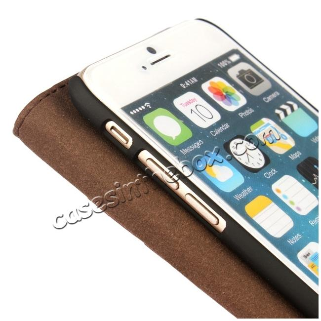 best price Luxury Genuine Crazy Horse Leather Wallet Case Cover For iPhone 6S 4.7 Inch - Brown