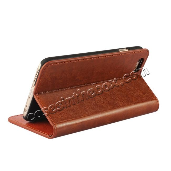 cheap Luxury Genuine Crazy Horse Leather Wallet Case Cover For iPhone 6S 4.7 Inch - Brown