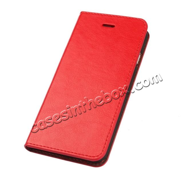 discount Luxury Genuine Crazy Horse Leather Wallet Case Cover For iPhone 6S 4.7 Inch - Red