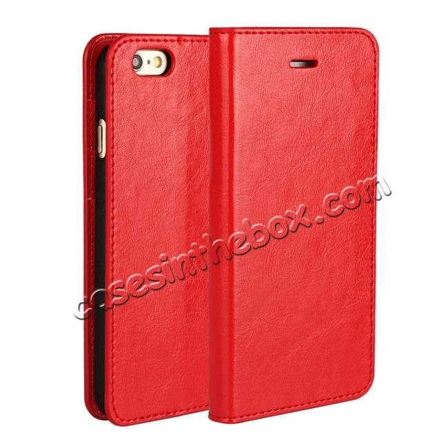 wholesale Luxury Genuine Crazy Horse Leather Wallet Case Cover For iPhone 6S 4.7 Inch - Red