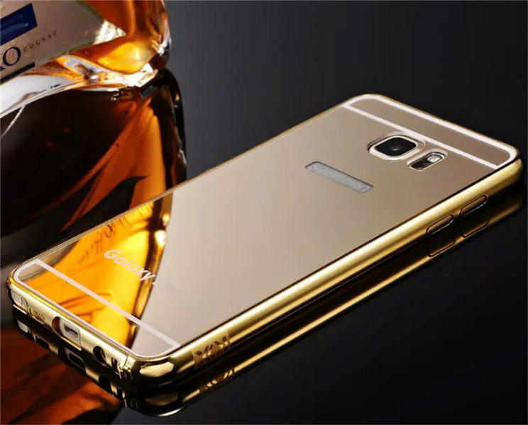 wholesale Luxury Metal Bumper With Mirror Acrylic Back Cover For Samsung Galaxy Note 5 - Gold