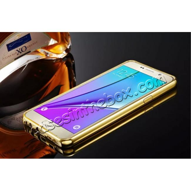 discount Luxury Metal Bumper With Mirror Acrylic Back Cover For Samsung Galaxy Note 5 - Gold