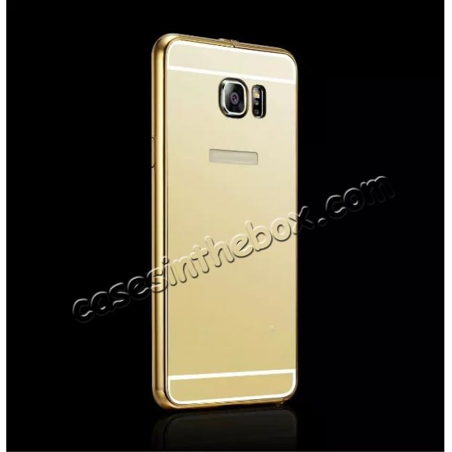 cheap Luxury Metal Bumper With Mirror Acrylic Back Cover For Samsung Galaxy Note 5 - Gold