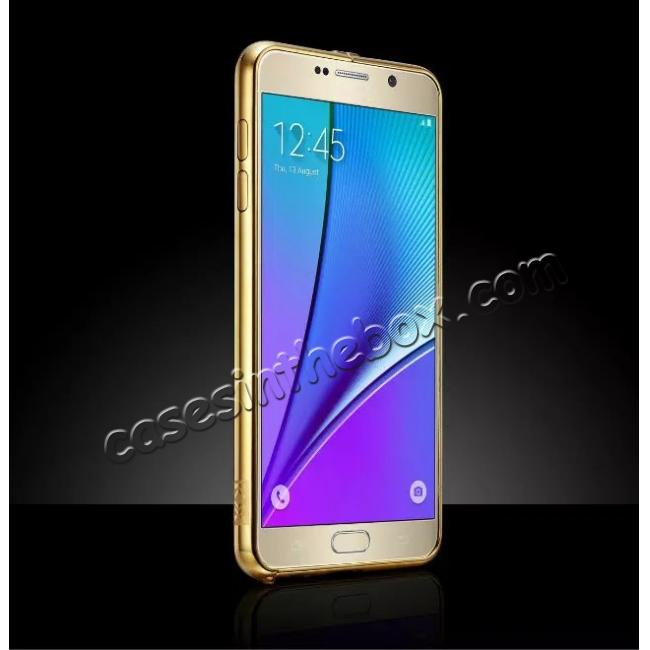 top quality Luxury Metal Bumper With Mirror Acrylic Back Cover For Samsung Galaxy Note 5 - Gold