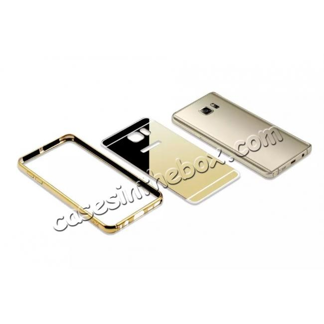 high quanlity Luxury Metal Bumper With Mirror Acrylic Back Cover For Samsung Galaxy Note 5 - Gold