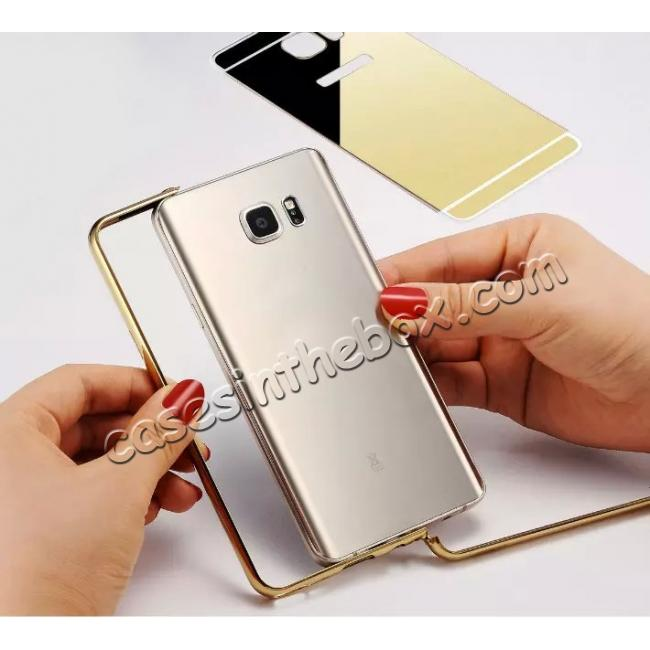 best price Luxury Metal Bumper With Mirror Acrylic Back Cover For Samsung Galaxy Note 5 - Gold