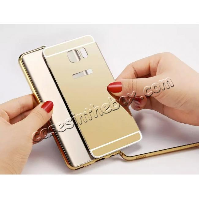 on sale Luxury Metal Bumper With Mirror Acrylic Back Cover For Samsung Galaxy Note 5 - Gold