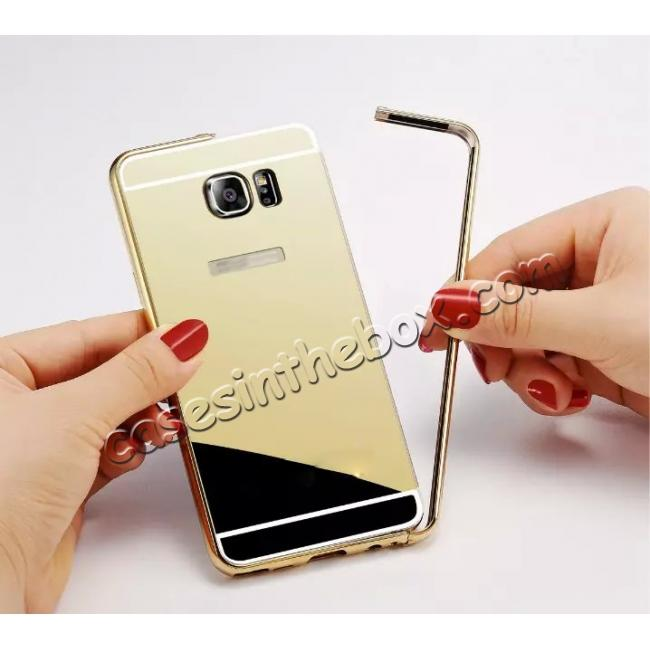 low price Luxury Metal Bumper With Mirror Acrylic Back Cover For Samsung Galaxy Note 5 - Gold