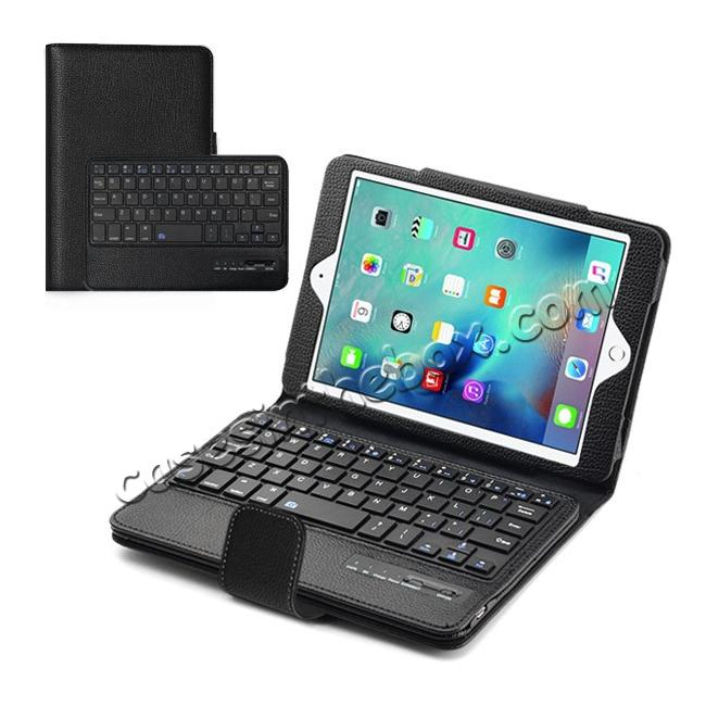 wholesale Removable Detachable Wireless Bluetooth Keyboard PU Leather Case Tablet Stand for iPad Mini 4 - Black