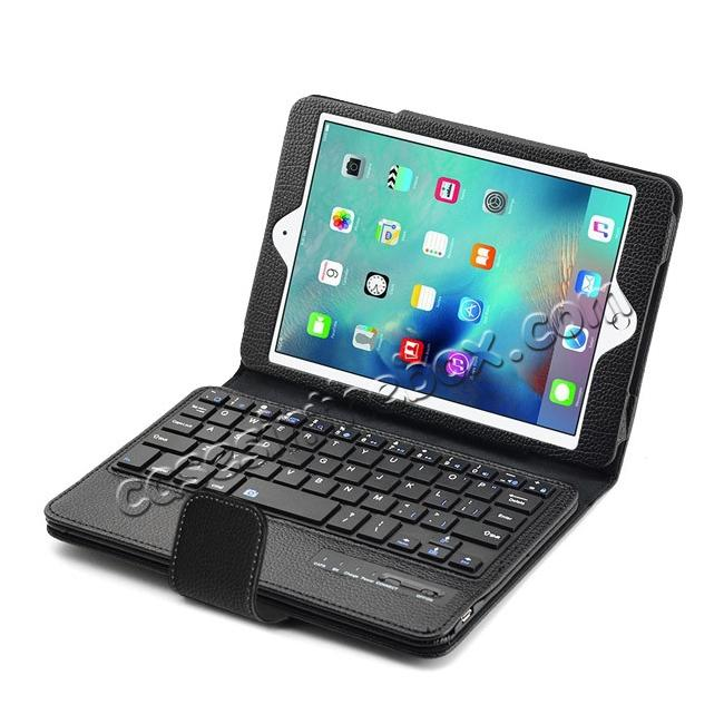 top quality Removable Detachable Wireless Bluetooth Keyboard PU Leather Case Tablet Stand for iPad Mini 4 - Black