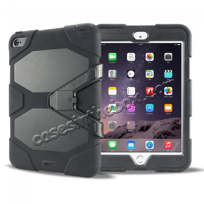 discount Rugged Dual Layer ShockProof Protect Case Cover For iPad mini 4 - Black