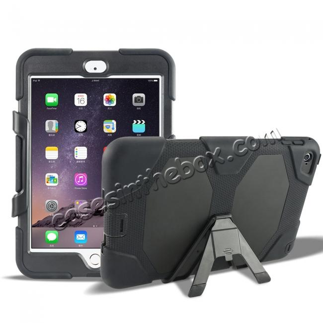 wholesale Rugged Dual Layer ShockProof Protect Case Cover For iPad mini 4 - Black