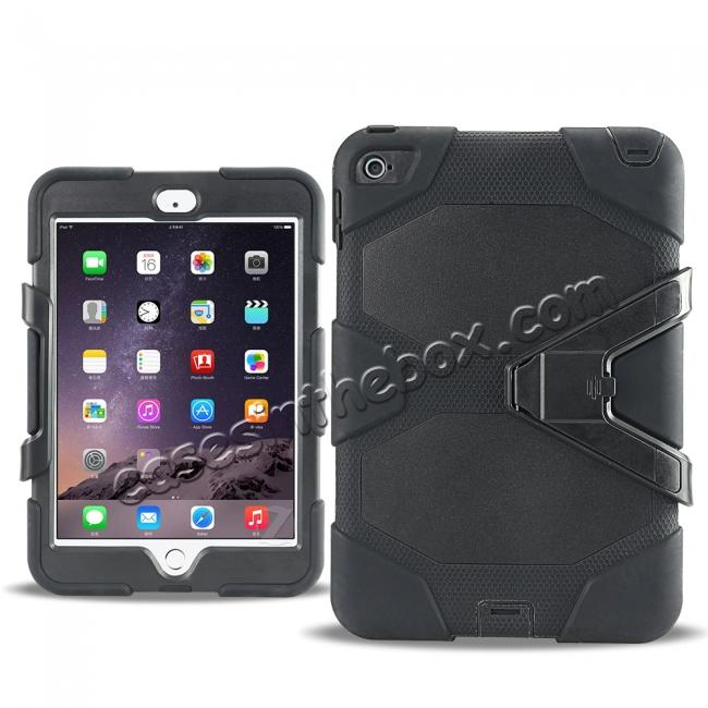 cheap Rugged Dual Layer ShockProof Protect Case Cover For iPad mini 4 - Black