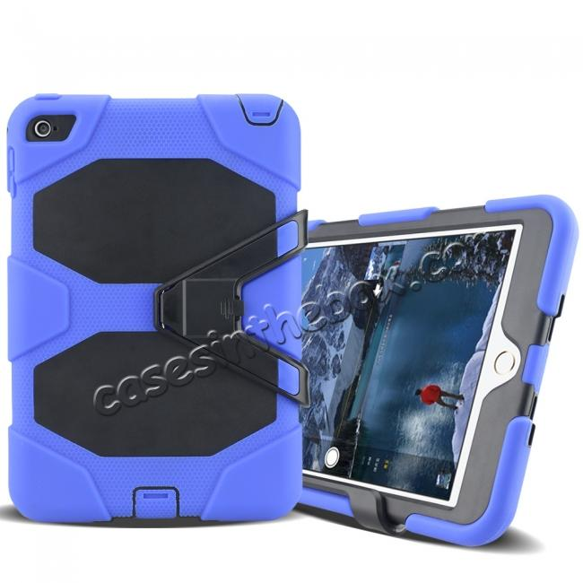 cheap Rugged Dual Layer ShockProof Protect Case Cover For iPad mini 4 - Blue