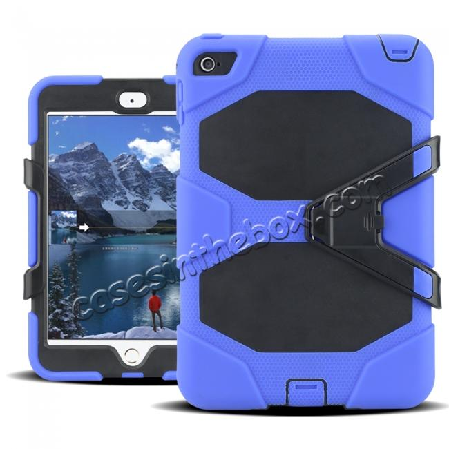 discount Rugged Dual Layer ShockProof Protect Case Cover For iPad mini 4 - Blue