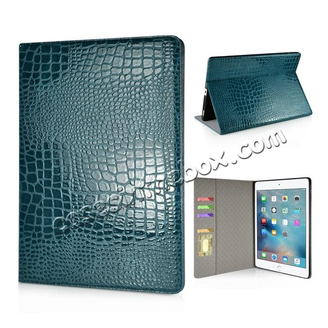 wholesale Alligator Pattern Flip Stand Leather Case For iPad Pro 12.9 inch With Card Slots - Blue