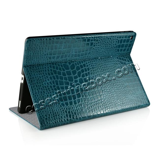 top quality Alligator Pattern Flip Stand Leather Case For iPad Pro 12.9 inch With Card Slots - Blue