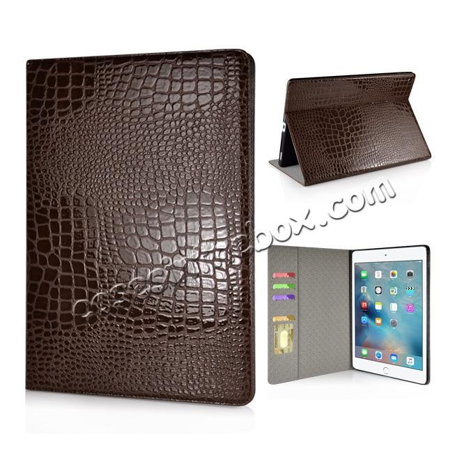 wholesale Alligator Pattern Flip Stand Leather Case For iPad Pro 12.9 inch With Card Slots - Brown