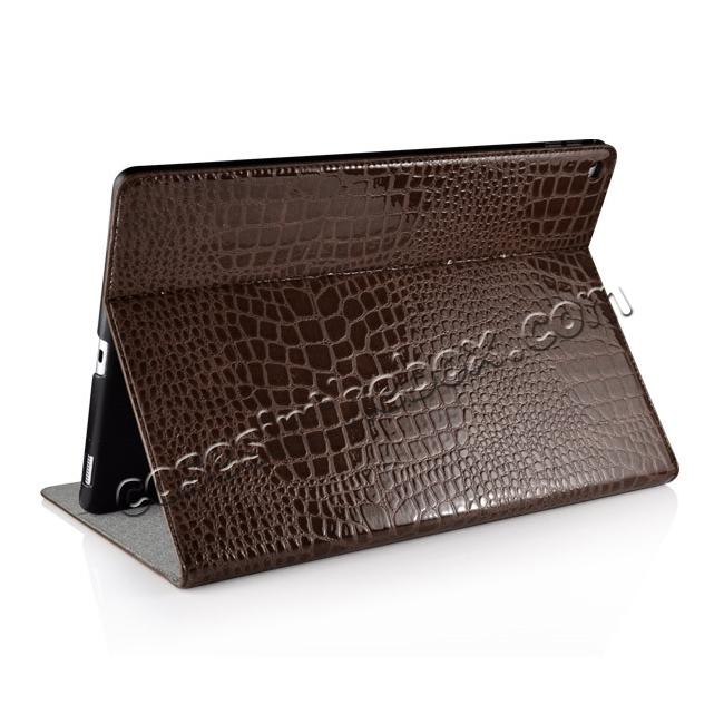 top quality Alligator Pattern Flip Stand Leather Case For iPad Pro 12.9 inch With Card Slots - Brown