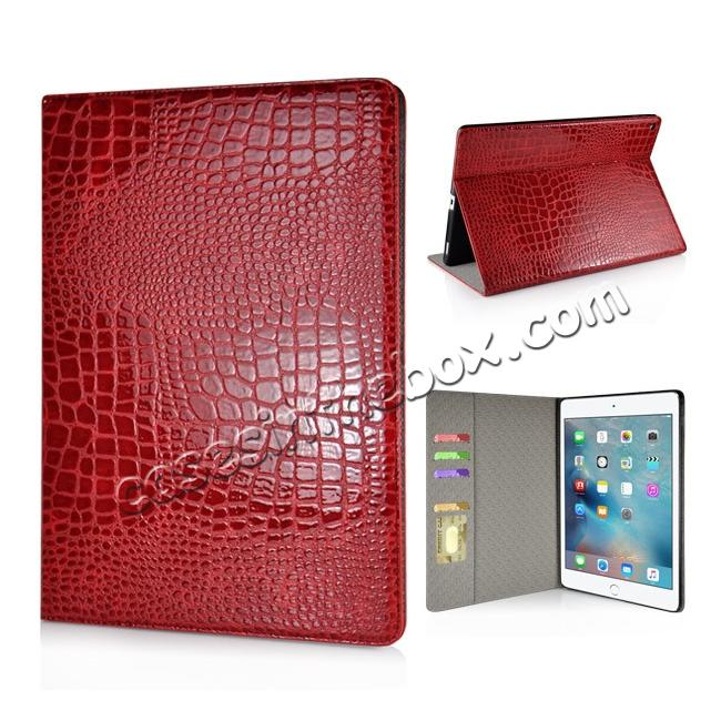 wholesale Alligator Pattern Flip Stand Leather Case For iPad Pro 12.9 inch With Card Slots - Red