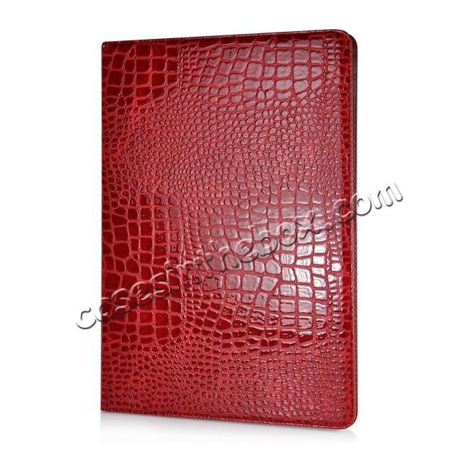 discount Alligator Pattern Flip Stand Leather Case For iPad Pro 12.9 inch With Card Slots - Red