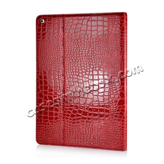 cheap Alligator Pattern Flip Stand Leather Case For iPad Pro 12.9 inch With Card Slots - Red