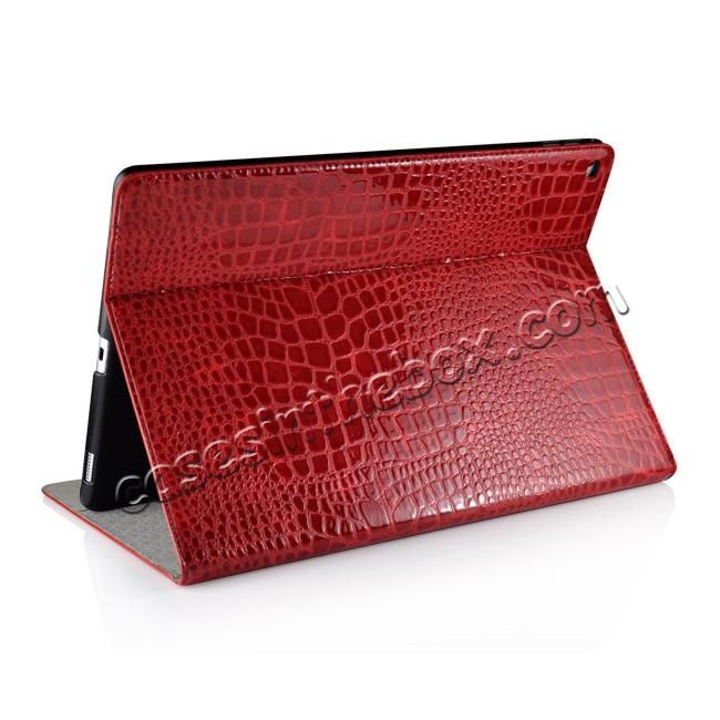 top quality Alligator Pattern Flip Stand Leather Case For iPad Pro 12.9 inch With Card Slots - Red
