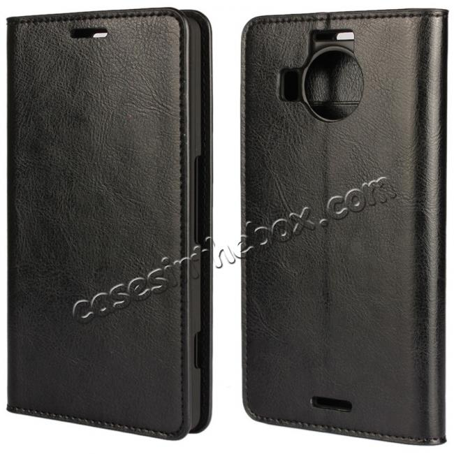 wholesale Crazy Horse Genuine Leather Wallet Case for Microsoft Lumia 950XL with Card Slots - Black