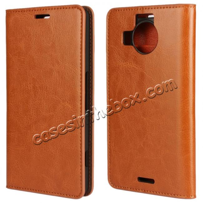 wholesale Crazy Horse Genuine Leather Wallet Case for Microsoft Lumia 950XL with Card Slots - Brown