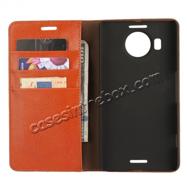 top quality Crazy Horse Genuine Leather Wallet Case for Microsoft Lumia 950XL with Card Slots - Brown