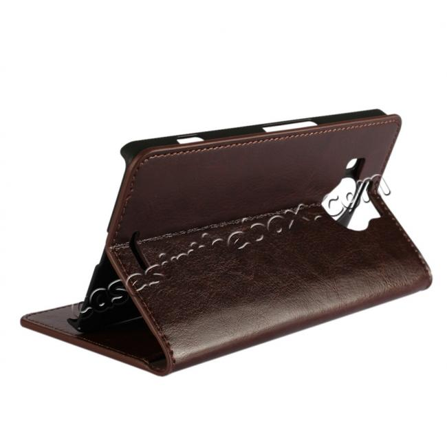 cheap Crazy Horse Genuine Leather Wallet Case for Microsoft Lumia 950XL with Card Slots - Coffee