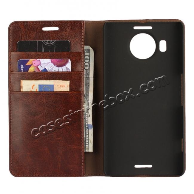 top quality Crazy Horse Genuine Leather Wallet Case for Microsoft Lumia 950XL with Card Slots - Coffee