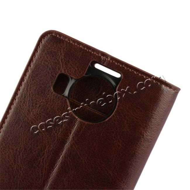 best price Crazy Horse Genuine Leather Wallet Case for Microsoft Lumia 950XL with Card Slots - Coffee