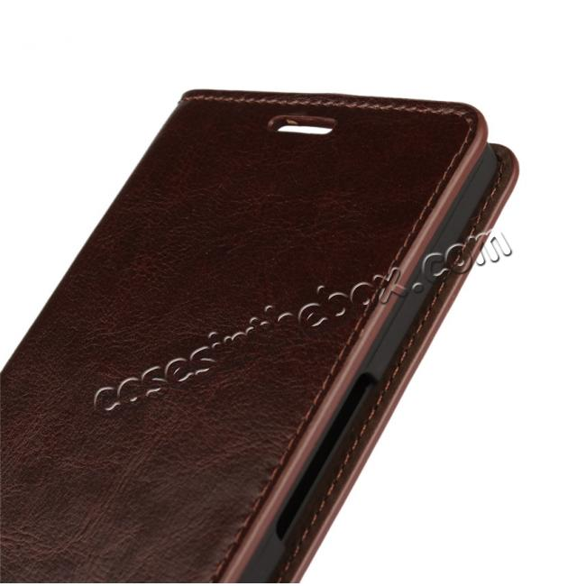 on sale Crazy Horse Genuine Leather Wallet Case for Microsoft Lumia 950XL with Card Slots - Coffee