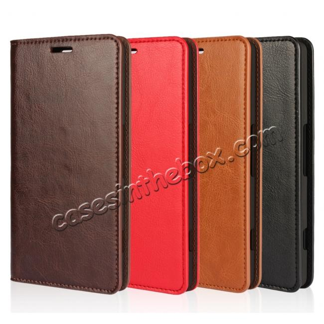 high quanlity Crazy Horse Genuine Leather Wallet Case for Microsoft Lumia 950XL with Card Slots - Coffee