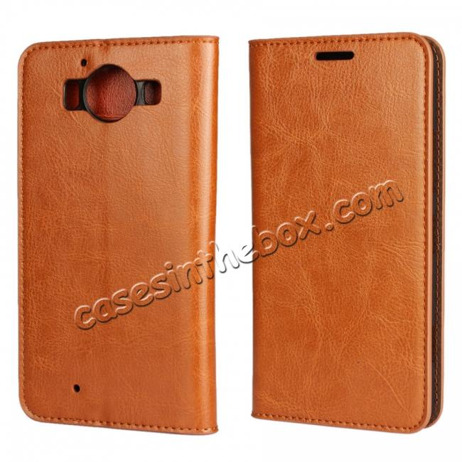 wholesale Crazy Horse Texture Flip Stand Genuine Leather Case for Microsoft Lumia 950 with Card Slots - Brown
