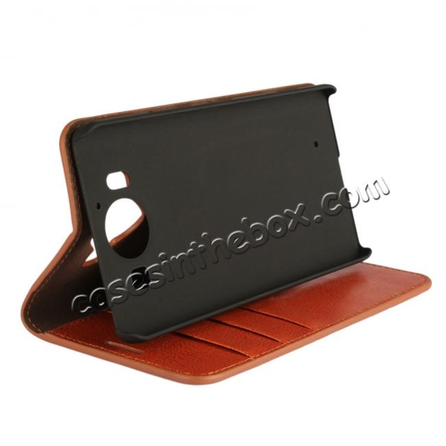 discount Crazy Horse Texture Flip Stand Genuine Leather Case for Microsoft Lumia 950 with Card Slots - Brown