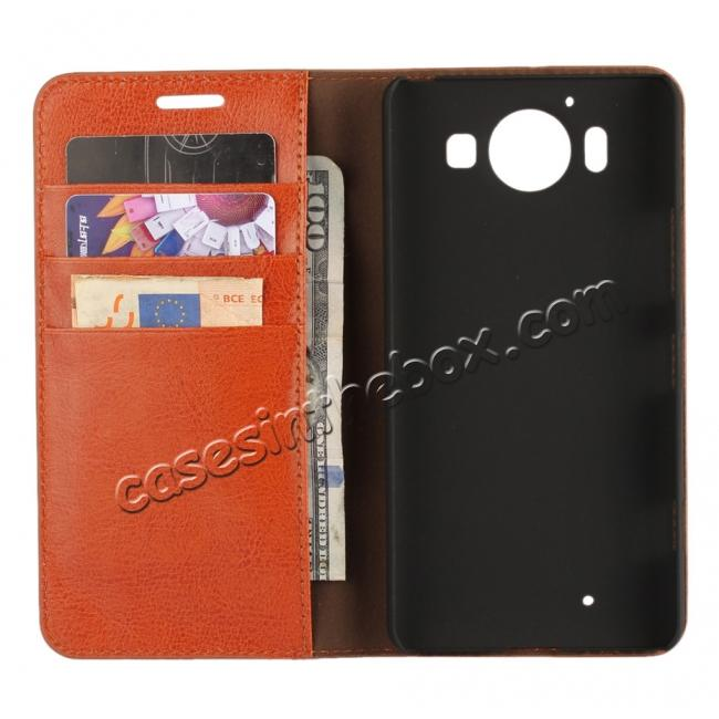 top quality Crazy Horse Texture Flip Stand Genuine Leather Case for Microsoft Lumia 950 with Card Slots - Brown