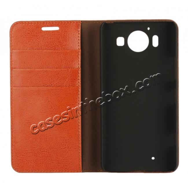 best price Crazy Horse Texture Flip Stand Genuine Leather Case for Microsoft Lumia 950 with Card Slots - Brown