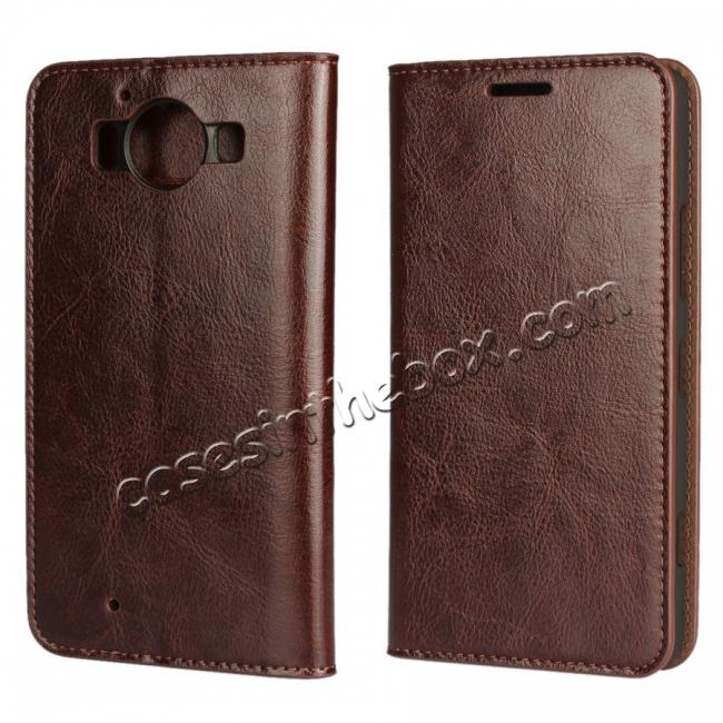 wholesale Crazy Horse Texture Flip Stand Genuine Leather Case for Microsoft Lumia 950 with Card Slots - Coffee