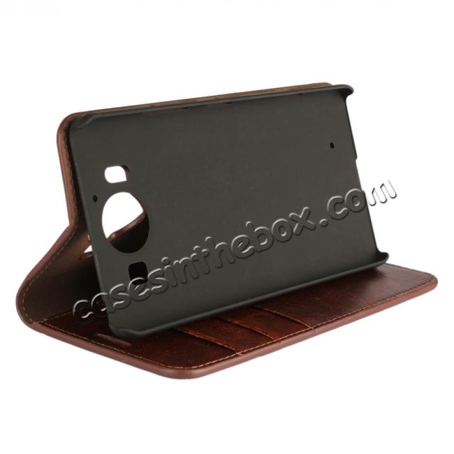 discount Crazy Horse Texture Flip Stand Genuine Leather Case for Microsoft Lumia 950 with Card Slots - Coffee