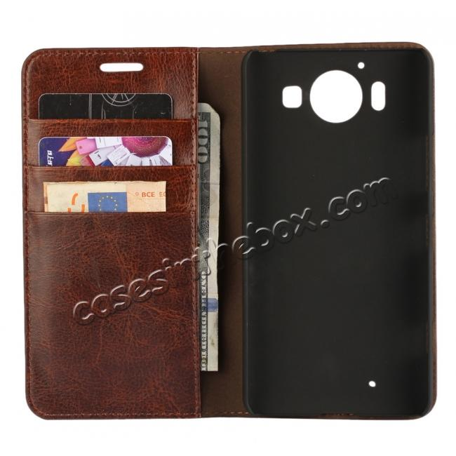 top quality Crazy Horse Texture Flip Stand Genuine Leather Case for Microsoft Lumia 950 with Card Slots - Coffee