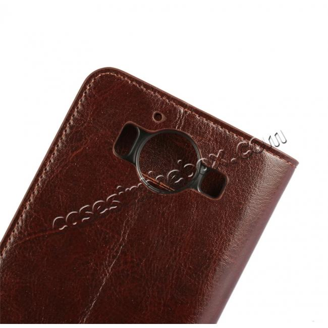 best price Crazy Horse Texture Flip Stand Genuine Leather Case for Microsoft Lumia 950 with Card Slots - Coffee