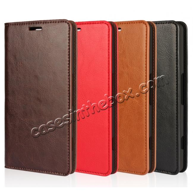low price Crazy Horse Texture Flip Stand Genuine Leather Case for Microsoft Lumia 950 with Card Slots - Coffee