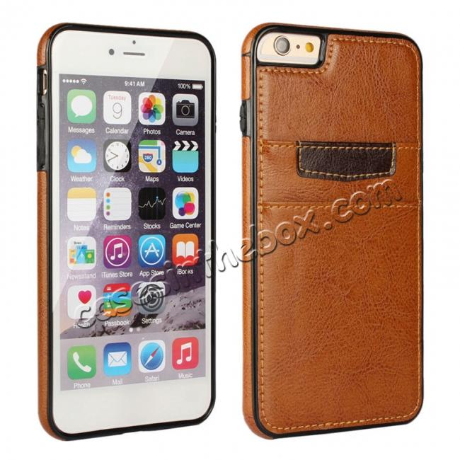wholesale Genuine Leather Back Cover Credit Card Holder Case For iPhone 6/6S 4.7 Inch - Brown