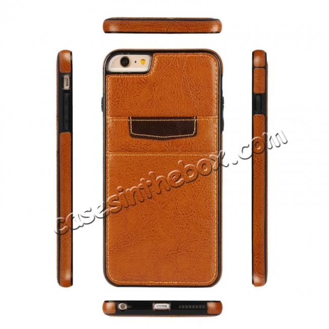 discount Genuine Leather Back Cover Credit Card Holder Case For iPhone 6/6S 4.7 Inch - Brown