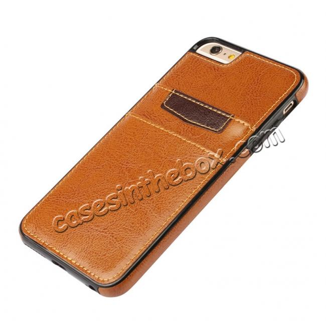 top quality Genuine Leather Back Cover Credit Card Holder Case For iPhone 6/6S 4.7 Inch - Brown