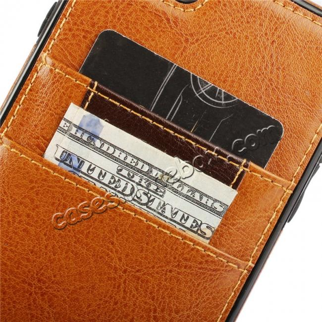 low price Genuine Leather Back Cover Credit Card Holder Case For iPhone 6/6S 4.7 Inch - Brown